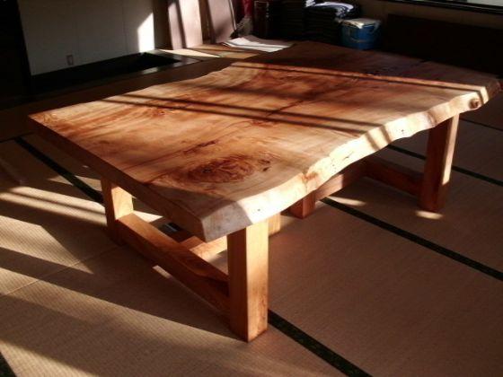 栃(トチ)無垢一枚板ダイニングテーブル5