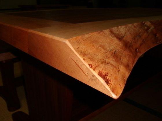 みずめ桜の無垢とチーク突板のテーブル&ベンチ6